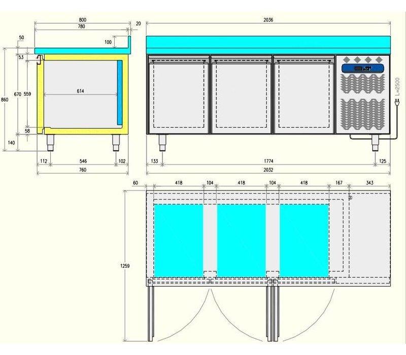 Diamond Kühle Workbench 80cm tief - 2 Türen - 1514x800x (H) 900 mm