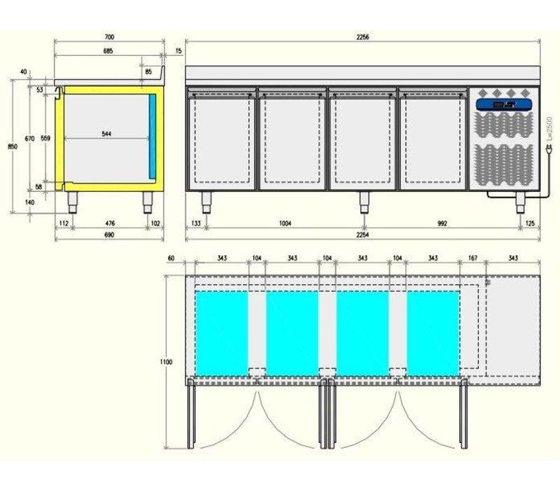 Diamond Kühle Workbench - 4 Schubladen + 2 Türen - 225x70x (h) 90cm - 550 Liter