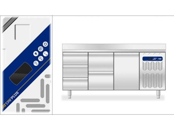 Diamond Koelwerkbank - 4 laden + 2 deurs - 225x70x(h)90cm - 550 Liter