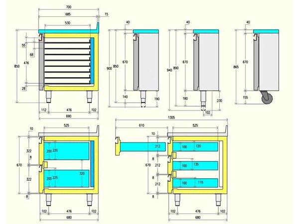 Diamond Kühle Workbench - 6 Schubladen - 181x70x (h) 88cm - 405 Liter - 1/1 GN