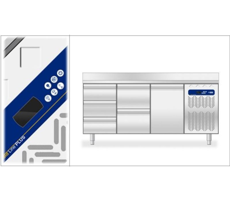 Diamond Koelwerkbank met Spatrand - 2 Deurs - 136x70x(h)88/90cm - 1/1GN - 260 Liter
