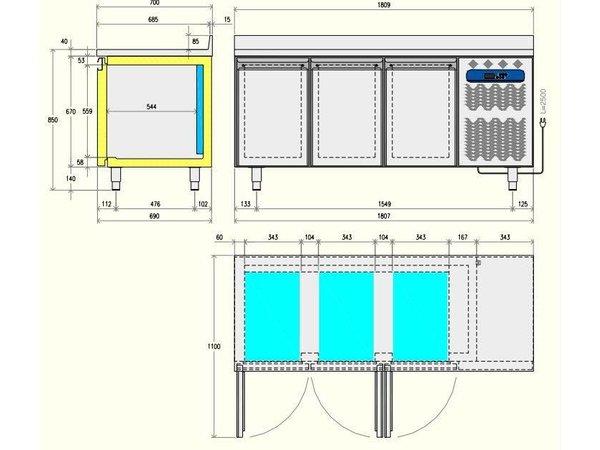 Diamond Koelwerkbank - 2 laden + 1 deur - 136x70x(h)88/90cm - 1/1GN - 260 Liter