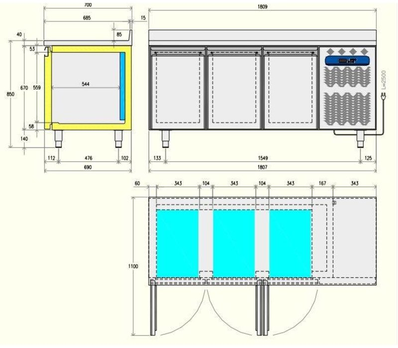 Diamond Kühle Workbench - 2 Schubladen + 1 Tür - 136x70x (h) 88 / 90cm - 1/1 GN - 260 Liter