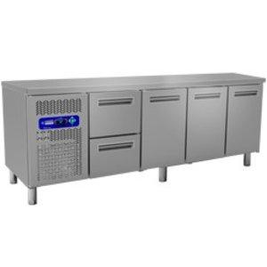 Diamond Koelwerkbank - 2 laden + 3 deurs - 225x70x(h)88/90cm - 550 Liter