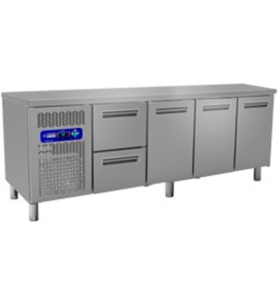 Diamond Cool Workbench - 2 drawers + 3 doors - 225x70x (h) 88 / 90cm - 550 Liter