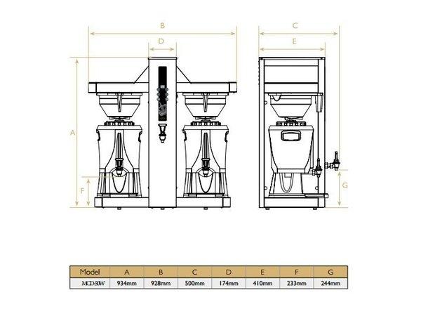 Diamond Kaffeemaschine mit Wasserhahn - Automatische Füllung - 8 kW - 2 x 5 Liter