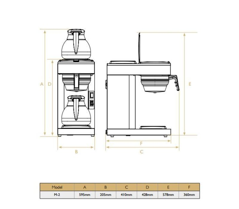 Diamond Coffee 1,8 Liter Manual | Incl. 2 Glass Jugs and 2 Hot Plates | 2,4KW