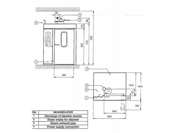Diamond Bäckerei Backofen - Auto-Backofen - 60/80 Ebenen - 400v - 185x204x (h) 254cm