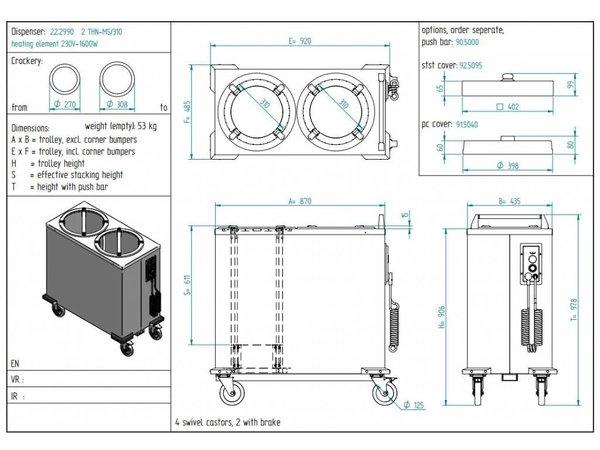 Diamond Bordenwarmer / Bordendispenser Dubbel - 110/120 borden - Ø 26cm - 435x870x(h)910mm