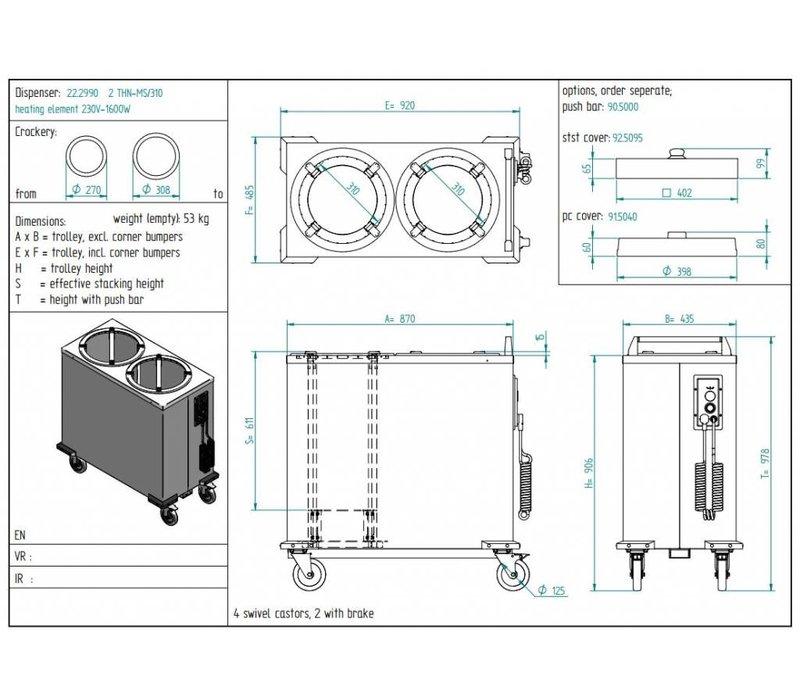Diamond Tellerwärmer / Zeichen Dual-Dispenser - 110/120 Platten - Ø 26cm - 435x870x (H) 910mm