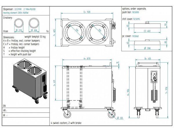 Diamond Bordenwarmer / Bordendispenser - 55/60 borden - Ø 26cm - 435x470x(h)910mm