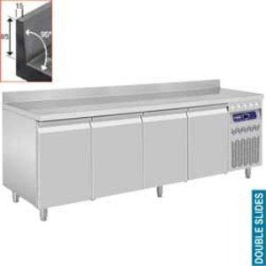 Diamond Koelwerkbank met Spatrand - 4 Deurs - 219x70x(h)85/90cm - 550 Liter - DELUXE