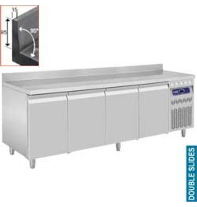 Diamond Kühle Workbench mit Splash Ridge - 4 Türen - 219x70x (h) 85 / 90cm - 550 Liter - DELUXE