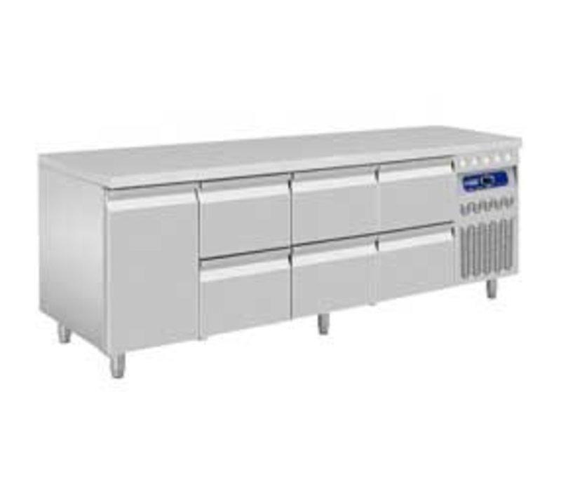 Diamond Cool Workbench - 6 drawers 1 Doors - 219x70x (h) 85 / 90cm - 550 Liter - DELUXE