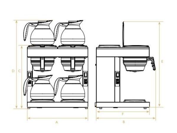 Diamond Kaffee 1,8 Liter Doppel | Handbuch | Inkl. 4 Glaskannen und 4 Kochplatten | 4,8KW