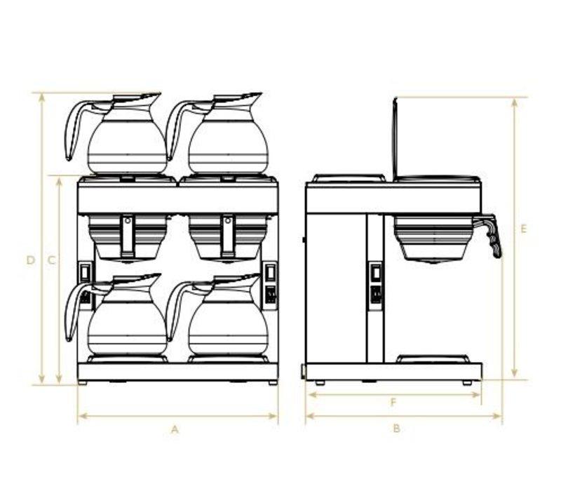 Diamond Koffiezetapparaat 1,8 Liter Dubbel | Manueel | Incl. 4 Glazen Kannen en 4 Warmhoudplaten | 4,8KW