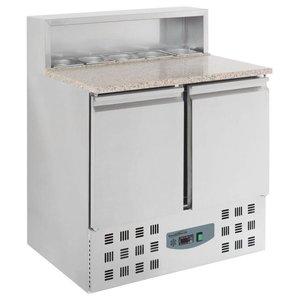 Combisteel Pizza Workbench - SS - 2 Türen - 90x70x (h) 110cm- mit 5 x 1/6 GN