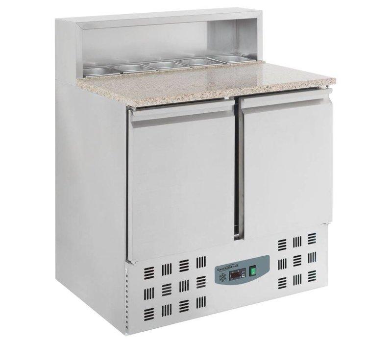 Combisteel Pizzawerkbank - RVS - 2 deurs - 90x70x(h)110cm- Met 5 x 1/6 GN