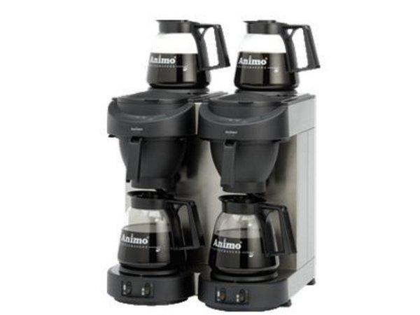 Animo Dubbel Koffiezetapparaat Animo   10512   M102   Inc 4 x Glazen Kan 1,8 Liter   3500W   420x380x(h)625mm