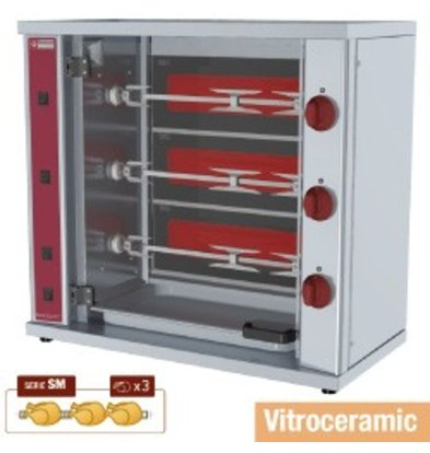 Diamond Chicken Grill Electric - 3 Spits - 800x400x (H) 735mm - 4,5 kW - 9 Chickens