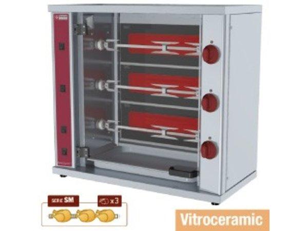 Diamond Kippengrill Vitroceramisch - 3 Spitten - 800x400x(h)735mm - 4,5KW - 9 Kippen