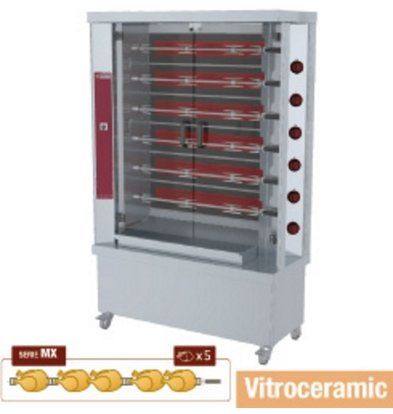Diamond Chicken Grill Electric - 6 Spits - 1200x500x (h) 1880mm - 15KW - 30 chickens