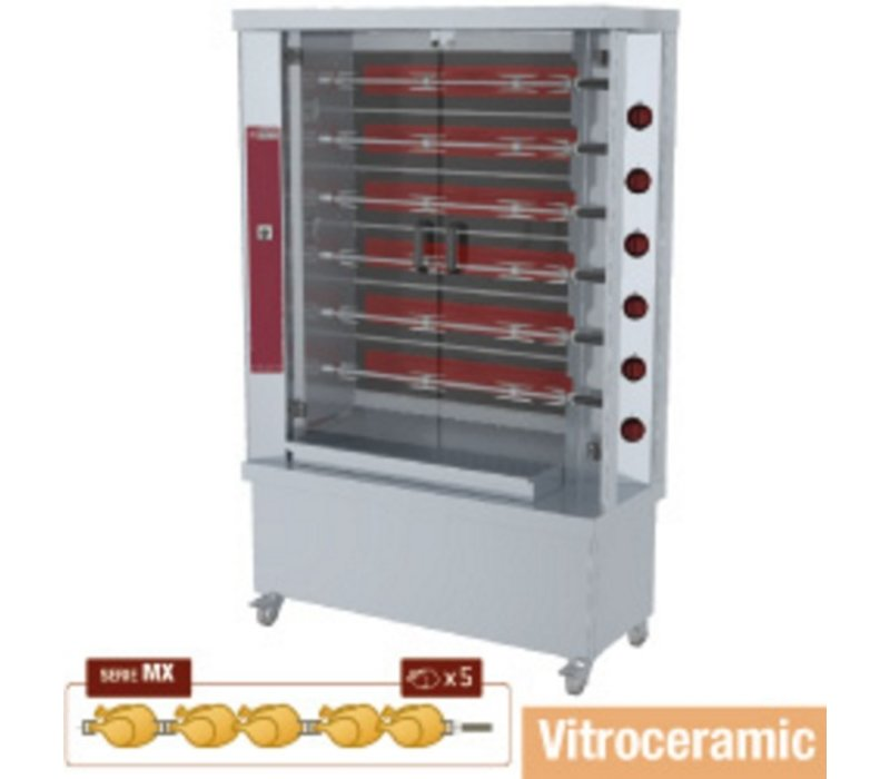 Diamond Huhn Grill Vitrokeramischer - 6 Spits - 1200x500x (h) 1880mm - 15KW - 30 Hühner