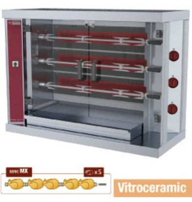 Diamond Chicken Grill Electric - 3 Spits - 1200x500x (H) 885mm - 7.5 kW - 15 chickens