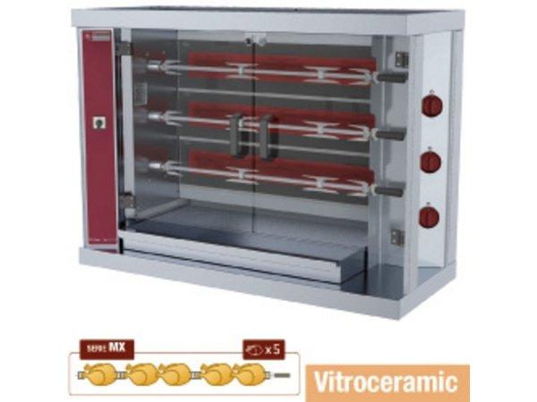 Diamond Huhn Grill Vitrokeramischer - 3 Spits - 14,4kW - 1098x480xh820mm