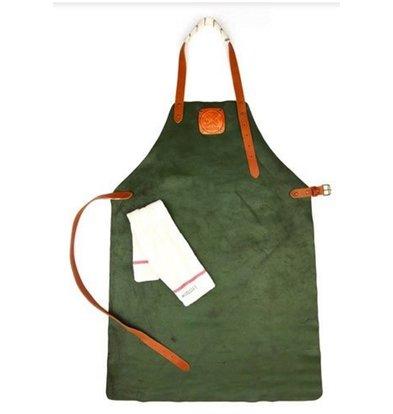 Witloft Leather Apron Witloft | Regular apron Green / Cognac | WL-ARU-04 | Unisex | Large 85 (L) x60 (b) cm