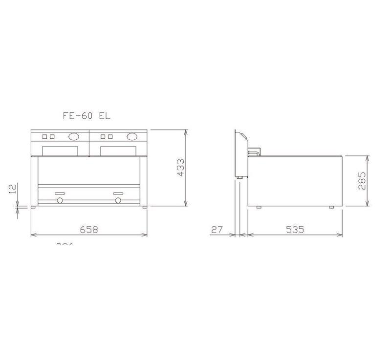 Diamond Elektrische Friteuse | 8 Liter | Met Aftapkraan | Koudezone | 3kW | 330x600x(H)290mm