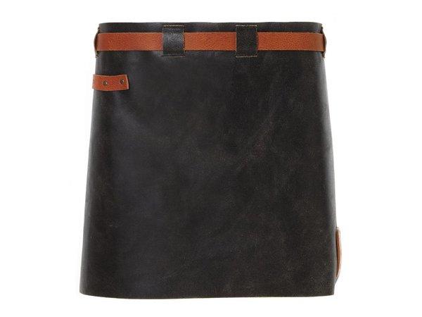 Witloft Leren Schort Witloft | Short Apron Black / Cognac | WL-SAW-01 | Woman | 40(L)x62(B)cm