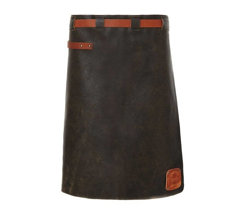 Witloft Leather Apron Witloft | Long Apron Black / Cognac | WL-LAM 01 | Male | 60 (L) x55 (W) cm