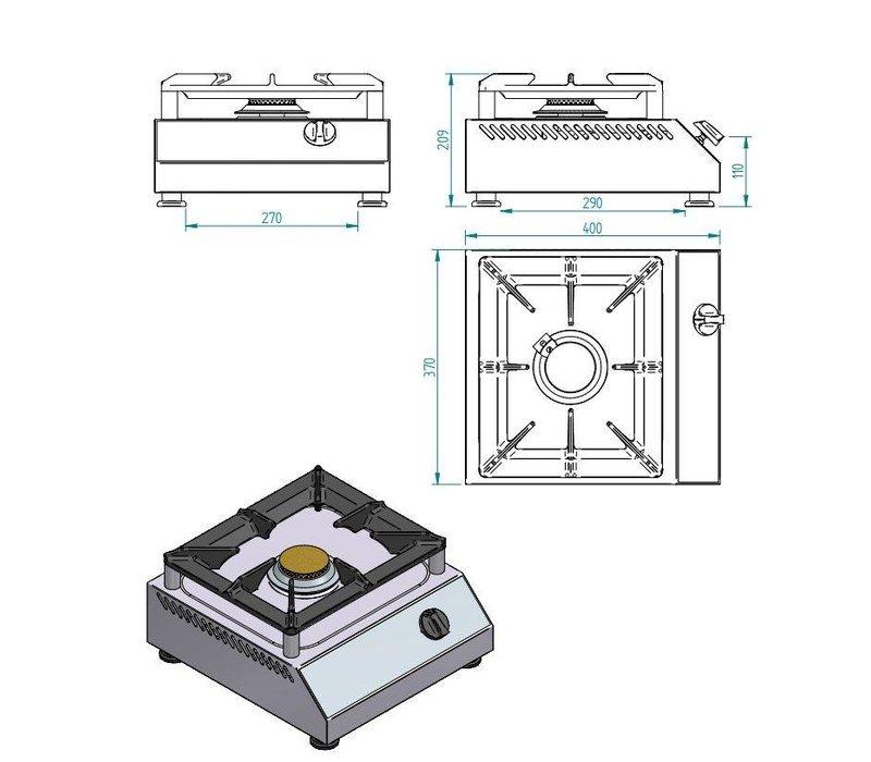 Diamond Gasfornuis 1 Brander - 5 Kw - 380x400x(h)200mm