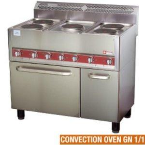 Diamond Horeca Fornuis | Elektrisch | 5 Kookplaten | Convectie Oven | 13kW | 990x600x860kW