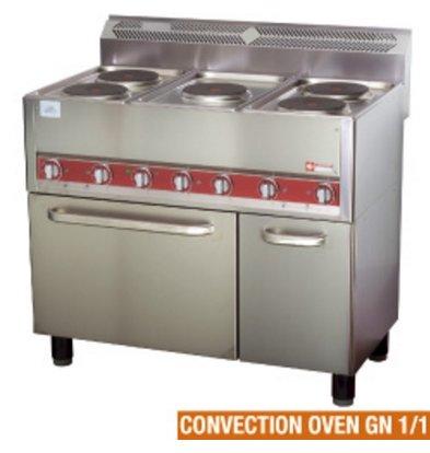 Diamond Horeca-Herd   Elektrisch 5 Kochplatten Heißluftofen   13 kW   990x600x860mm