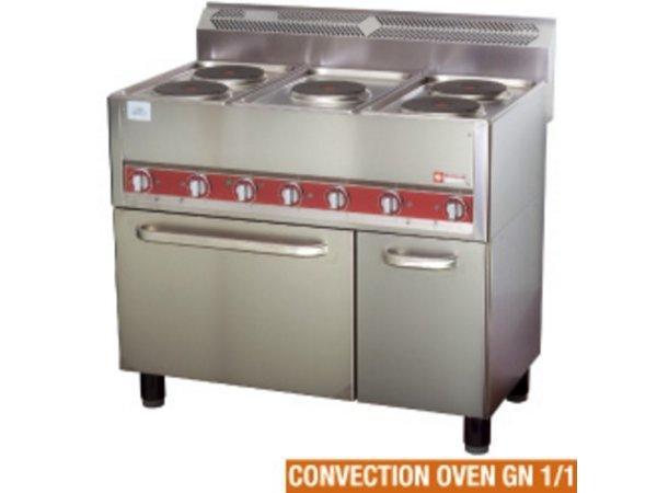 Diamond Horeca-Herd | Elektrisch 5 Kochplatten Heißluftofen | 13 kW | 990x600x860mm