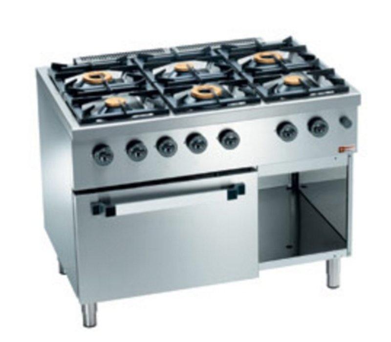 Diamond Horeca Fornuis | Gas | 6 Branders | 3,5 en 6kW | Gas Oven met Kast | 1100x700x(h)850mm