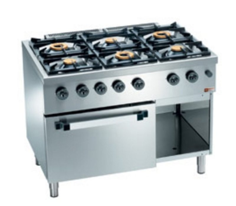 Diamond Horeca Stove   gas   6 Burners   3.5 and 6kW   Gas Stove with Cabinet   1100x700x (H) 850mm