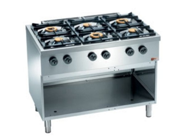 Diamond Horeca Stove | gas | 6 Burners 3.5 and 6kW | Open Cupboard | 1100x700x (H) 850mm