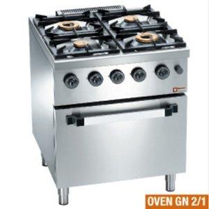 Diamond Horeca Fornuis | Gas | 4 Branders | 3,5 en 6kW | Gas Oven| 700x700x(h)850mm