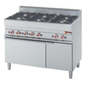 Diamond stove | 6 burners on Gas oven | 3.6 and 5kW | Neutral cabinet | 1100x650x (h) 850 / 950mm