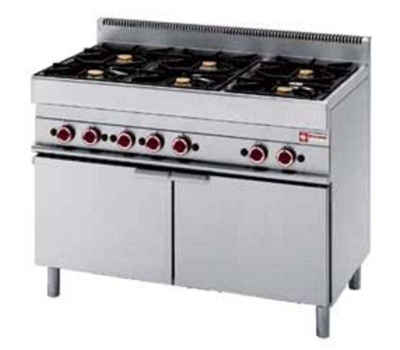 Diamond Gas stove | 6 Burners | 3.6 and 5kW | Maxi gas oven with 2 Swing doors | 1100x650x (h) 850 / 950mm