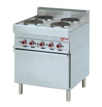 Diamond Elektrisch Fornuis | 4 Ronde Kookplaten | 400V | 2,6kW | Convectie Oven | 700x650x(h)850/950mm