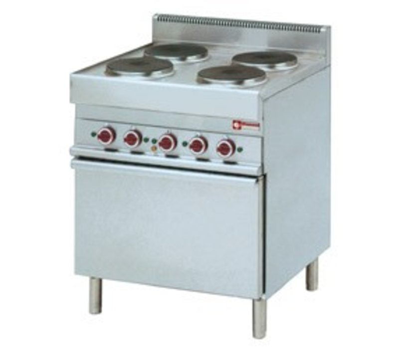 Diamond Elektroherd | 4 Runde Kochen | 400V | 2,6kW | Konvektomatenblech | 700x650x (h) 850 / 950mm