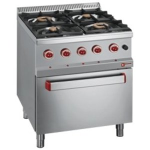 Diamond Gas stove | 4 burners | 400V | 3.5 and 6kW | With Electric Oven | 700x700x (h) 850 / 920mm