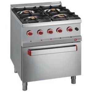 Diamond Gasfornuis | 4 Gasbranders | 400V | 3,5 en 6kW | Met Elektrische Oven | 700x700x(h)850/920mm