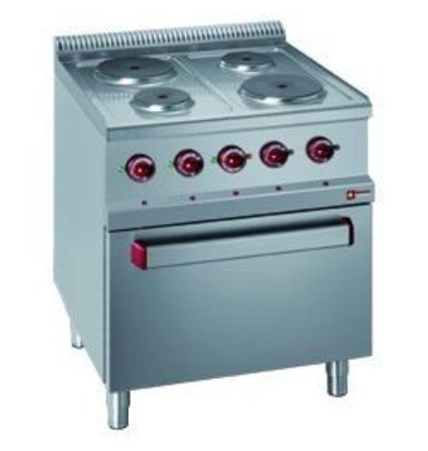 Diamond Electric Stove | 4 plates on Electric Oven and Grill | 400V | 1,5 and 2,6kW | 700x700x (h) 850 / 1000mm