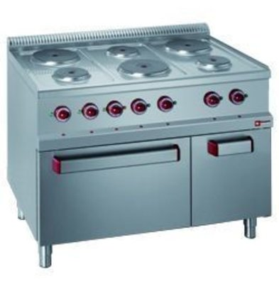 Diamond Electric Stove | 6 Round Plates with Electric Oven and Grill | 400V | 1,5 and 2,6kW | 1100x700x (h) 850 / 1000mm