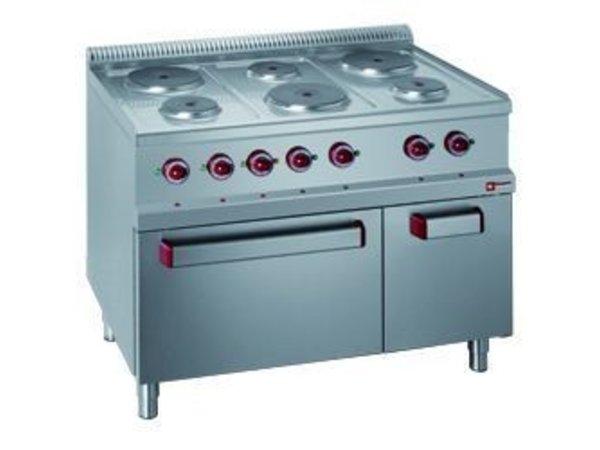 Diamond Elektrisch Fornuis | 6 Ronde Platen met Elektrisch Oven en Grill | 400V | 1,5 en 2,6kW | 1100x700x(h)850/1000mm